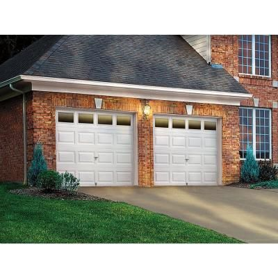 Clopay Premium Series 8 Ft X 7 Ft 18 4 R Value Intellicore Insulated White Garage Door With Plain Window Brick Exterior House Garage Doors Garage Door Design