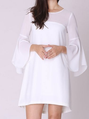 Women's Lotus leaf Sleeve Round Collar White Loose Dress