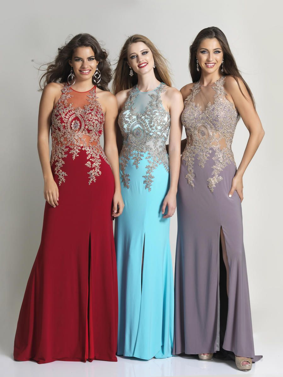 Dave and johnny sheer embroidered prom gown camo wedding