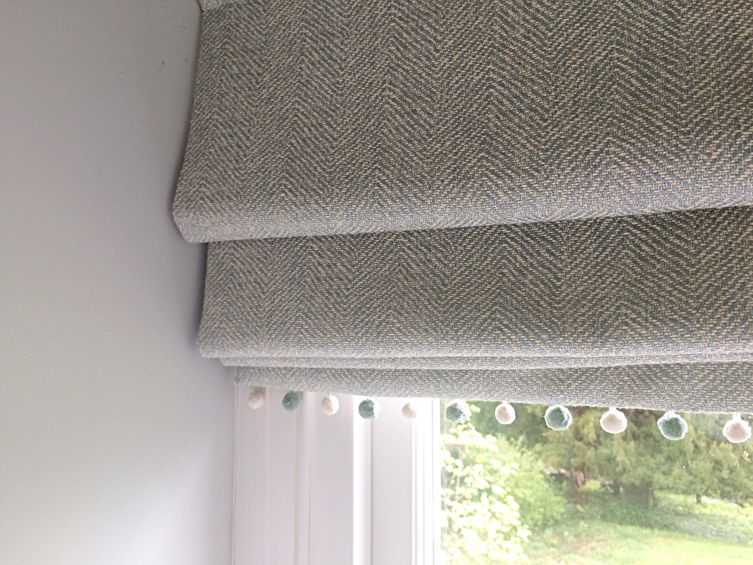 Blinds and curtains combination bedroom - Fabulous Fabric For Roman Blinds Silverton Weave By Gp J Baker Trimmed With Susie Watson Pom Poms