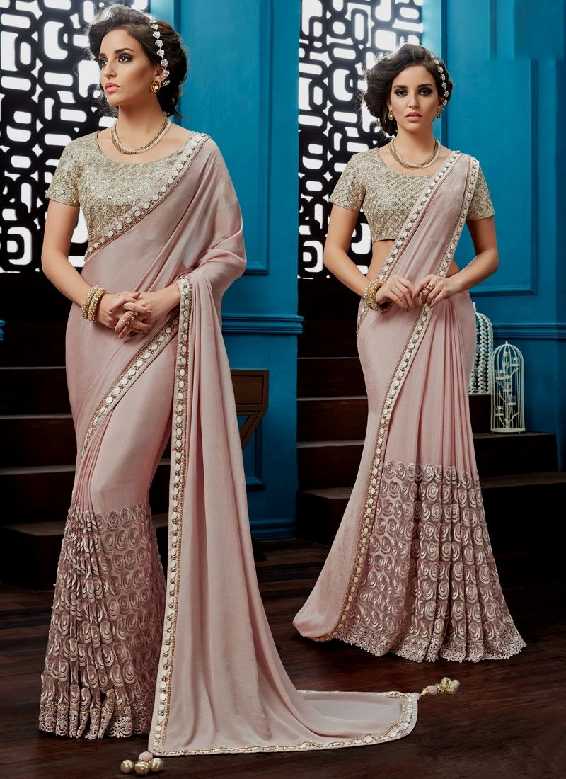 Buy from the latest range of designer collection of saree. Buy this faux chiffon classic designer saree for bridal and wedding.
