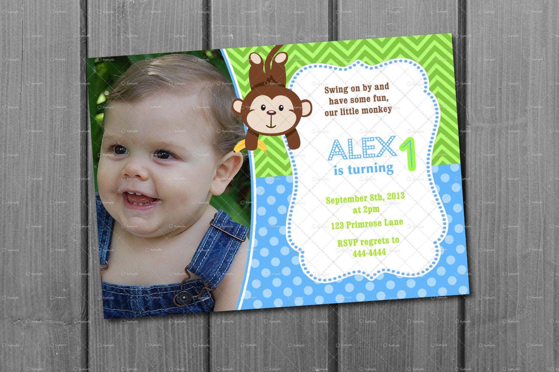 Blue and Green Monkey Boy 1st Birthday Invitation Card Monkey 1st ...
