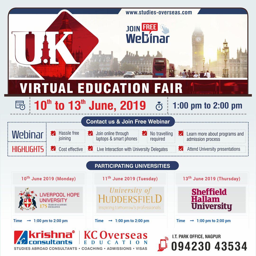 Uk Virtual Education Fair 10th To 13th June 2019 Education Fair Education Overseas Education