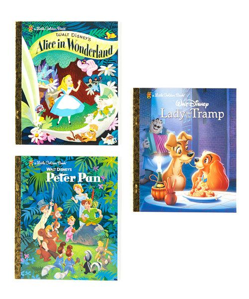 Jump into a few classics with this bundle of Little Golden Books. Filled with charming tales and beautiful illustrations, these familiar Disney stories will delight readers of every age.Includes Peter Pan, Alice in Wonderland and Lady and the TrampLady and the Tramp: written by Teddy SlaterHar...