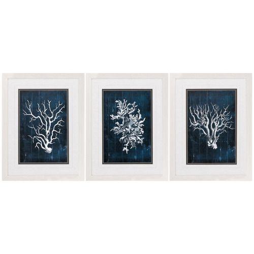 Navy Blue Coral Framed Prints - Set of 3 | Framed prints and Coastal ...