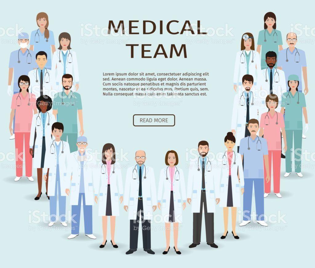 Medical Team Group Doctors And Nurses Standing Together Medicine Medical Medical Illustration Nurse