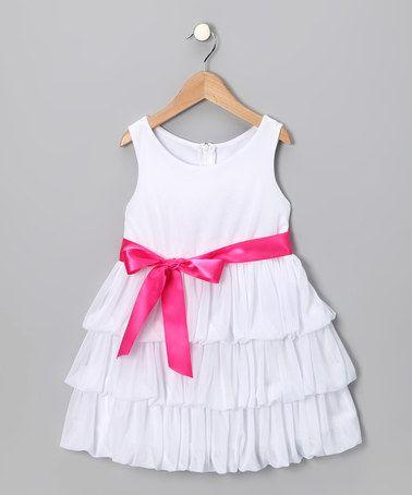 White & Pink Ruffle Dress - Toddler & Girls by Cinderella Couture #zulily #zulilyfinds