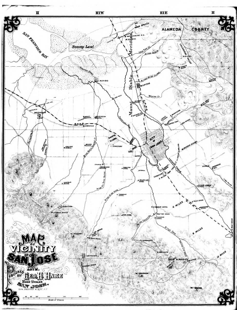 Historic Map of San Jose CA 1875 Panoramic Maps Pinterest