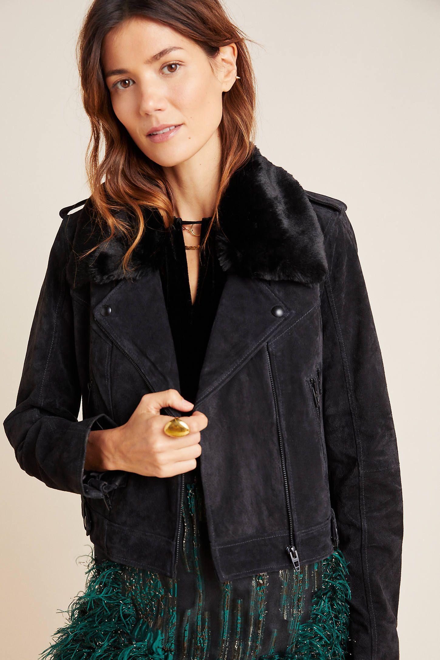 Aragona Suede Moto Jacket by BLANKNYC in Grey Size: L, Women's Jackets at Anthropologie