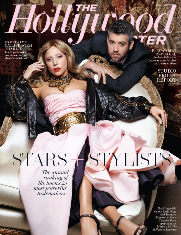 Lady Gaga and Brandon Maxwell on the cover of 'The Hollywood Reporter.' Photo: The Hollywood Reporter
