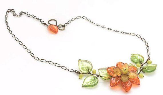 Orange Flower Necklace Summer Leaf by CherylParrottJewelry on Etsy