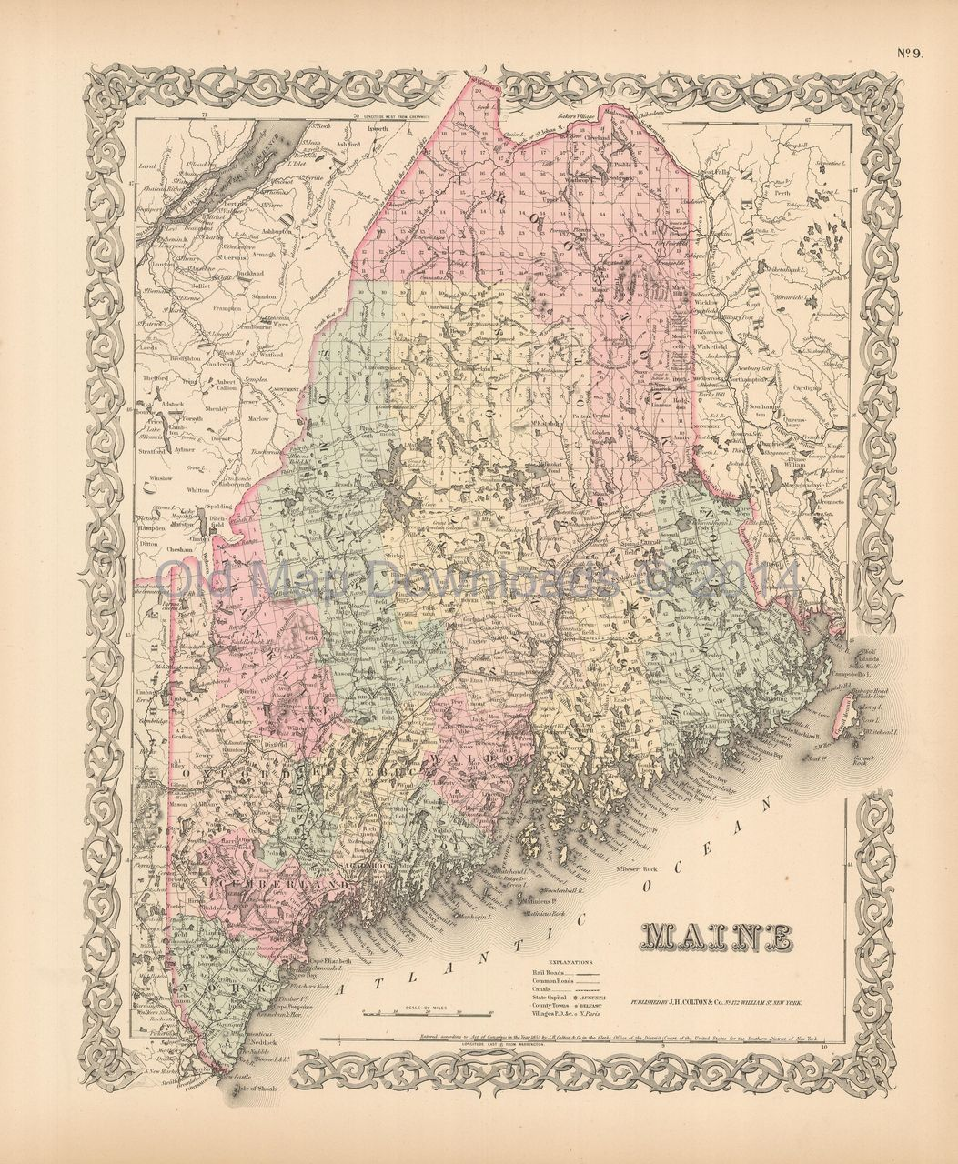 Old Maine Map.Maine Old Map Colton 1855 Digital Image Scan Download Printable