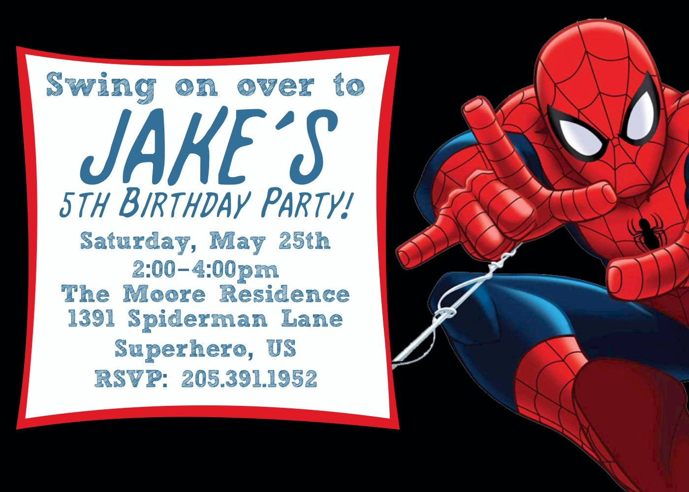 Free Printable Spiderman Birthday Invitation Templates