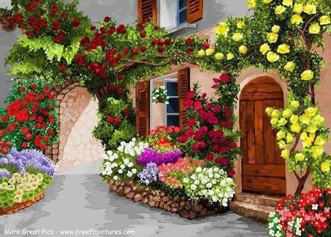 there is beautiful house and garden with various kind of flowers and various arrangementthese - Beautiful Flower Gardens Waterfalls