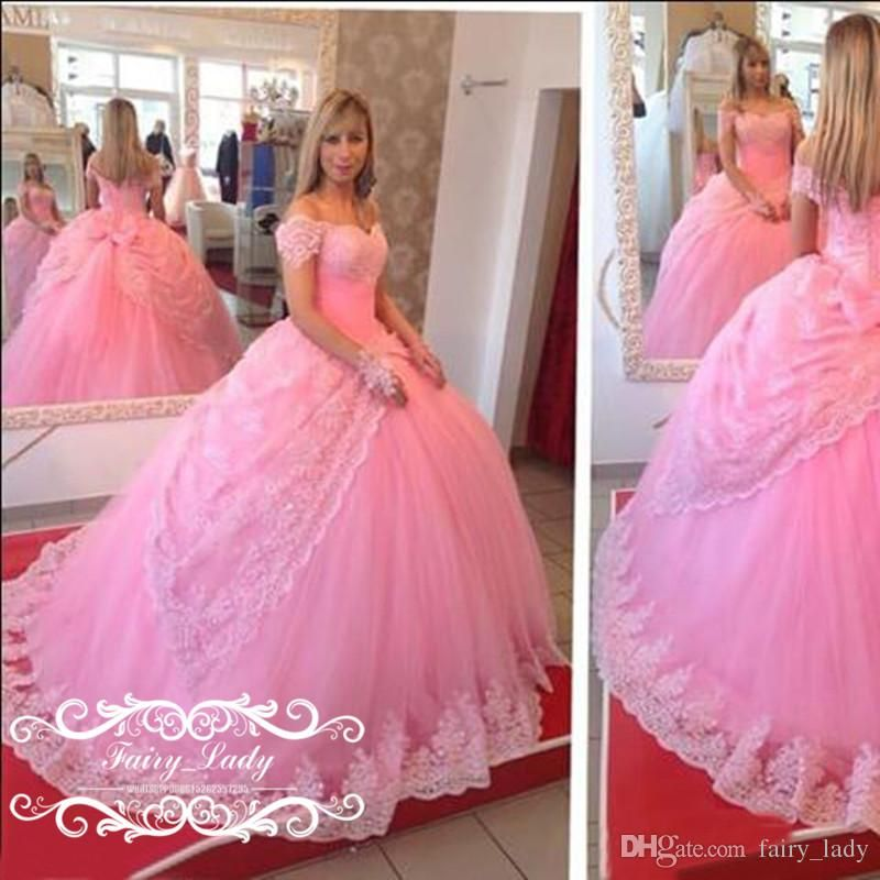 Princess 2017 Off Shoulder Pink Wedding Dresses With Capped Sleeves ...
