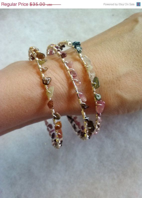 On Sale Wire Wrapped Stacking Bracelets with by SkullMotoDesign