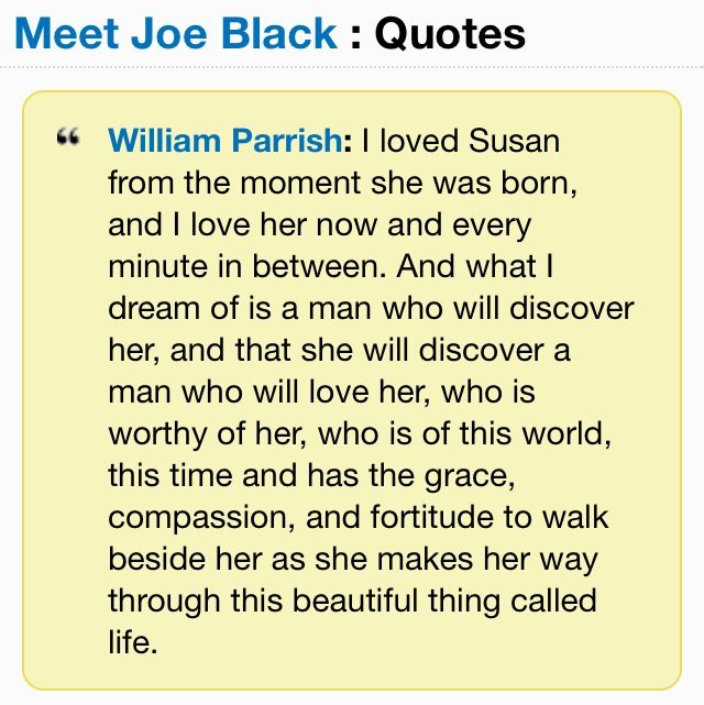 famous quotes from meet joe black