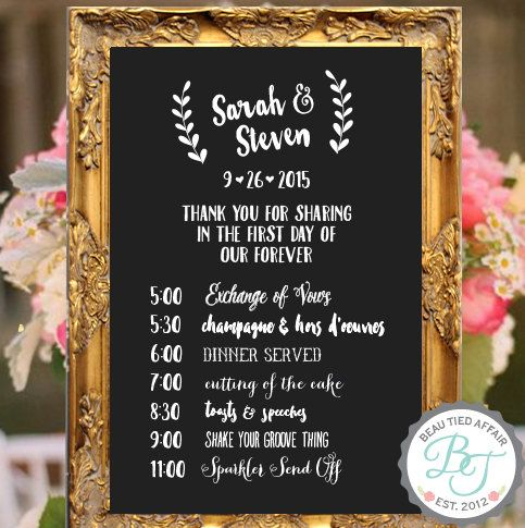 Wedding Program Of Events Chalkboard Sign Custom Wedding Signage Wedding Ti Wedding Reception Chalkboard Wedding Reception Timeline Wedding Menu Chalkboard