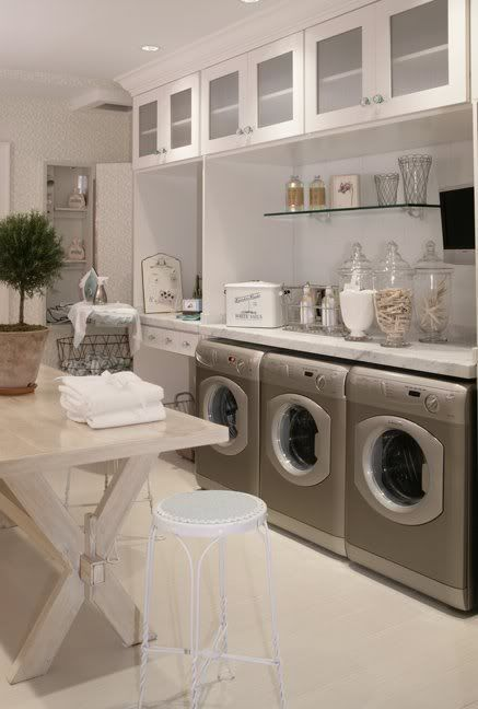 Large Laundry Room With Lots Of Storage Is That Two Washers The