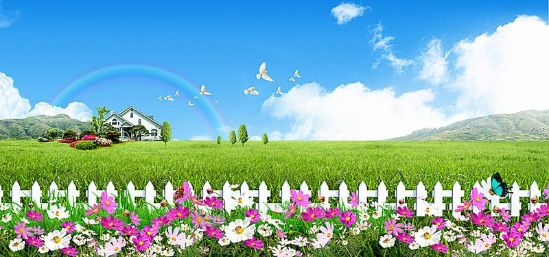 Beautiful Blue Sky Green Grass Flowers Fence Dove House Poster