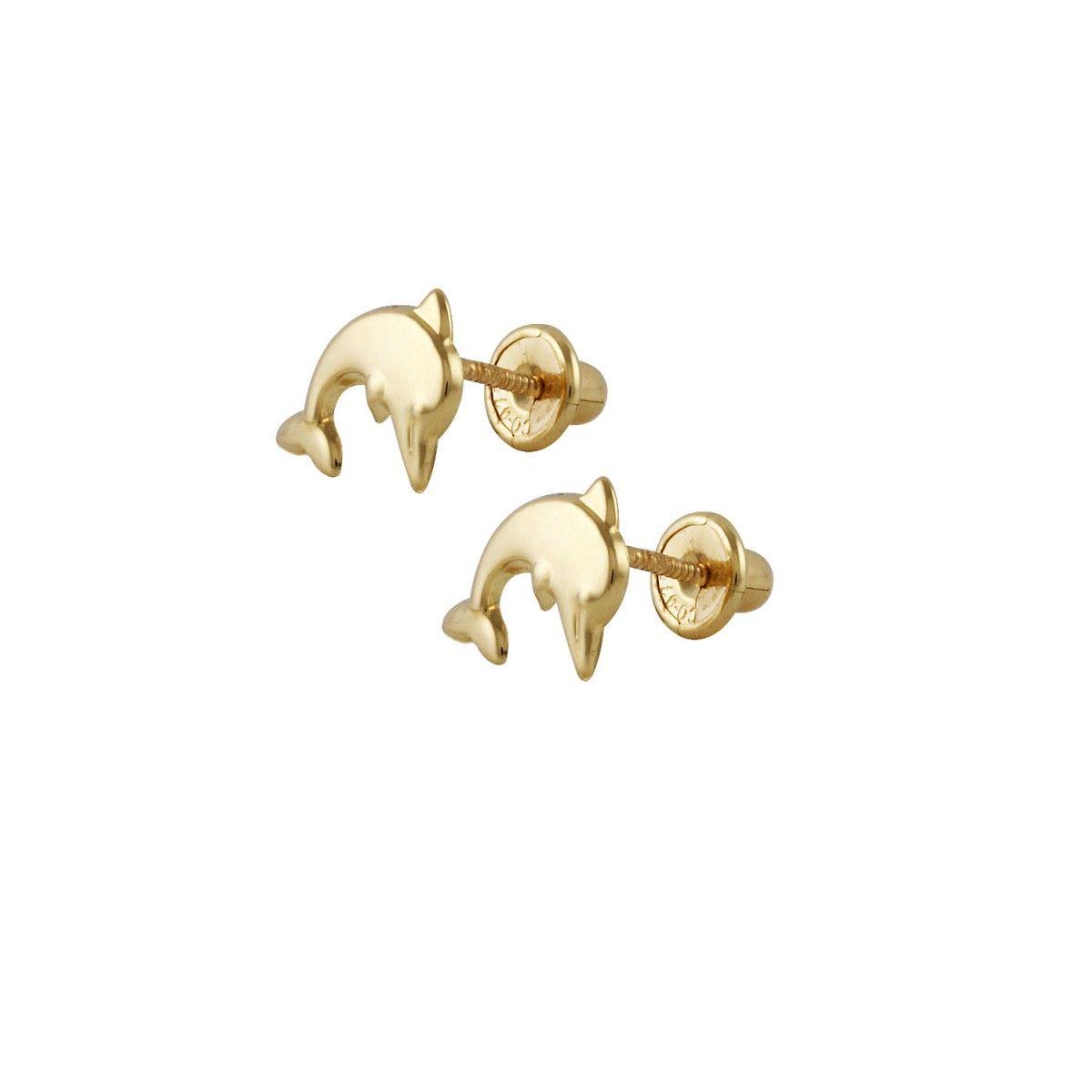 Pendiende con forma de delfín, de oro amarillo 18k/750mls.