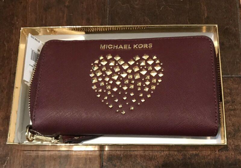 29f747272dc8 NWT MK Michael Kors Large Flat Phone Case Wallet Wristlet Merlot Leather  Heart