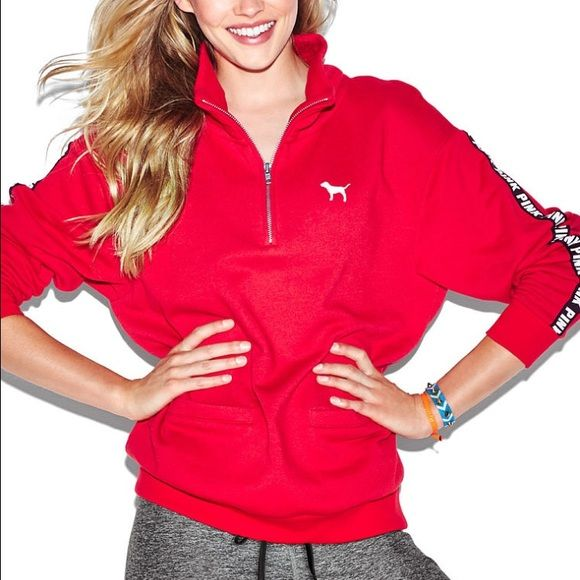 VS Pink Red Boyfriend Half Zip Sweatshirt | vs Pink, Boyfriends ...