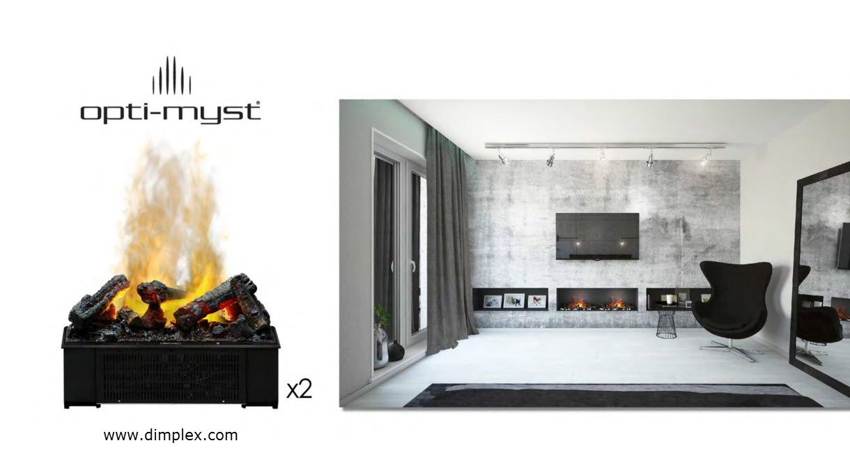 custom opti myst 1000 cassette fireplace using 2 units opti myst