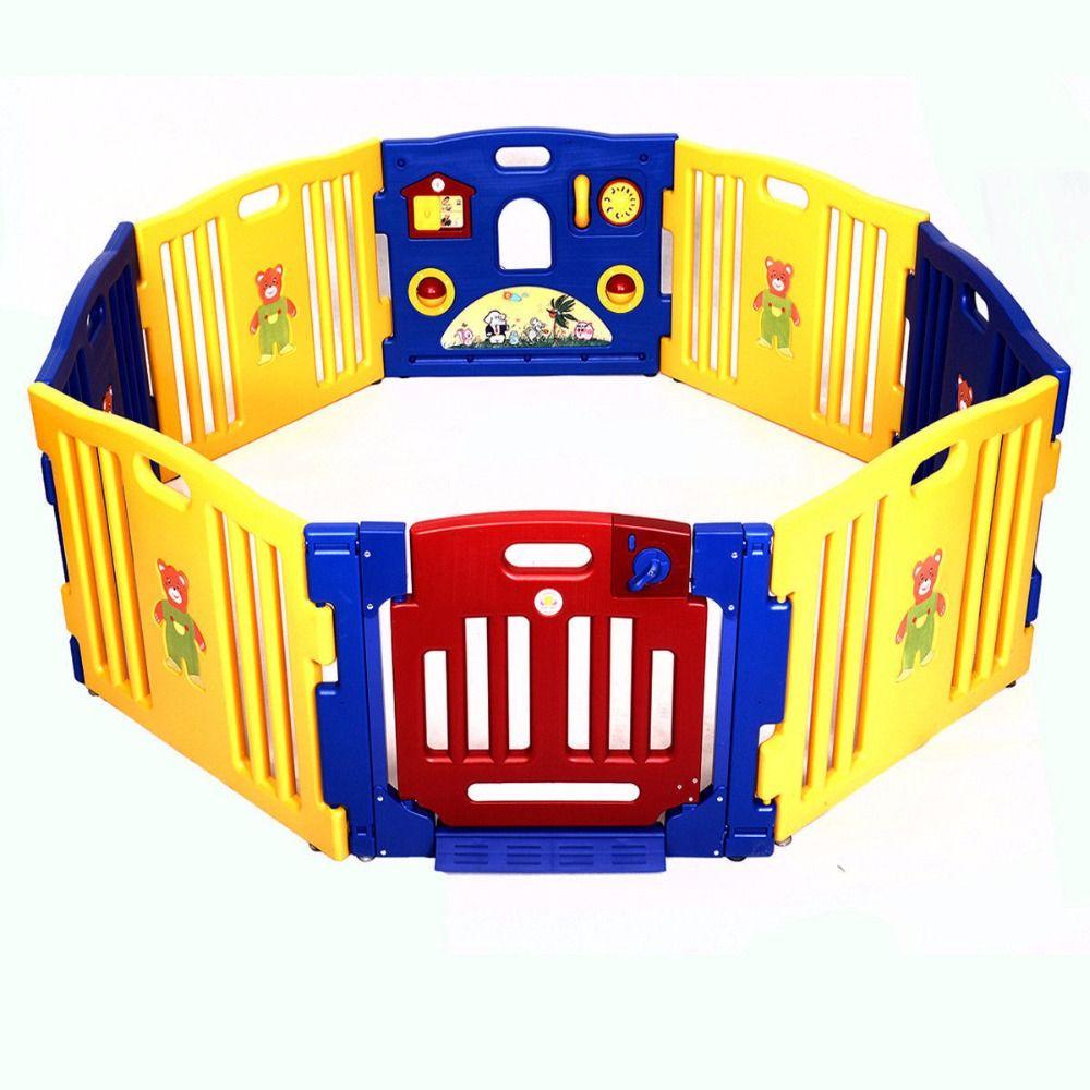 New Baby Playpen Kids 8 Panel Safety Play Center Yard Home Indoor Outdoor  Pen BB4211