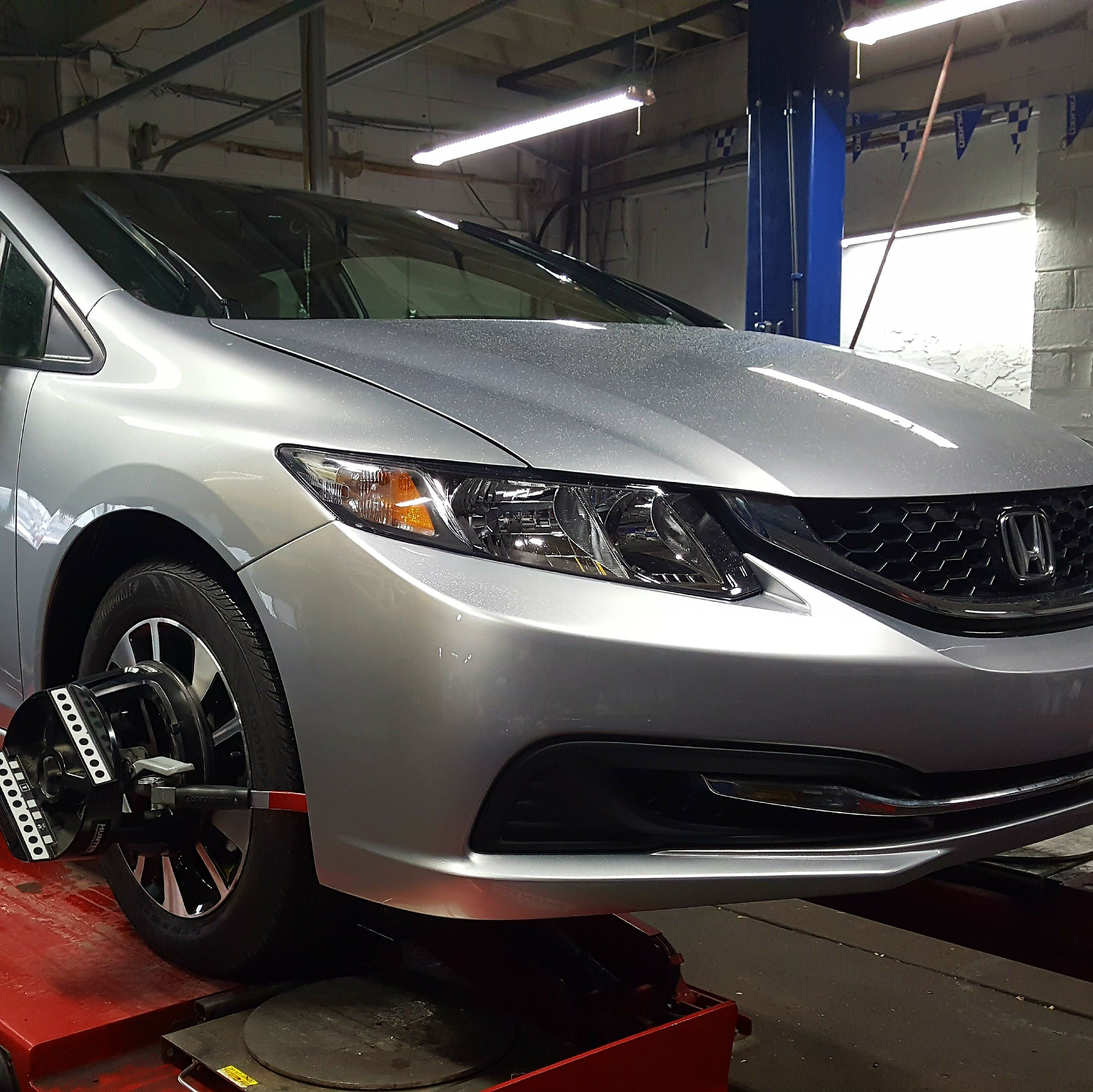 2014 Honda Civic At Our Service Facility For An 4 Wheel Alignment Honda Civic 2014 Honda Civic Car Repair Service