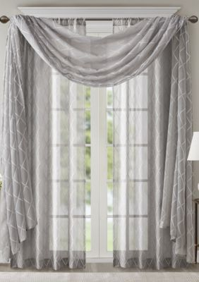 Madison Park Irina Diamond Sheer Embroidered Window Scarf Sheer