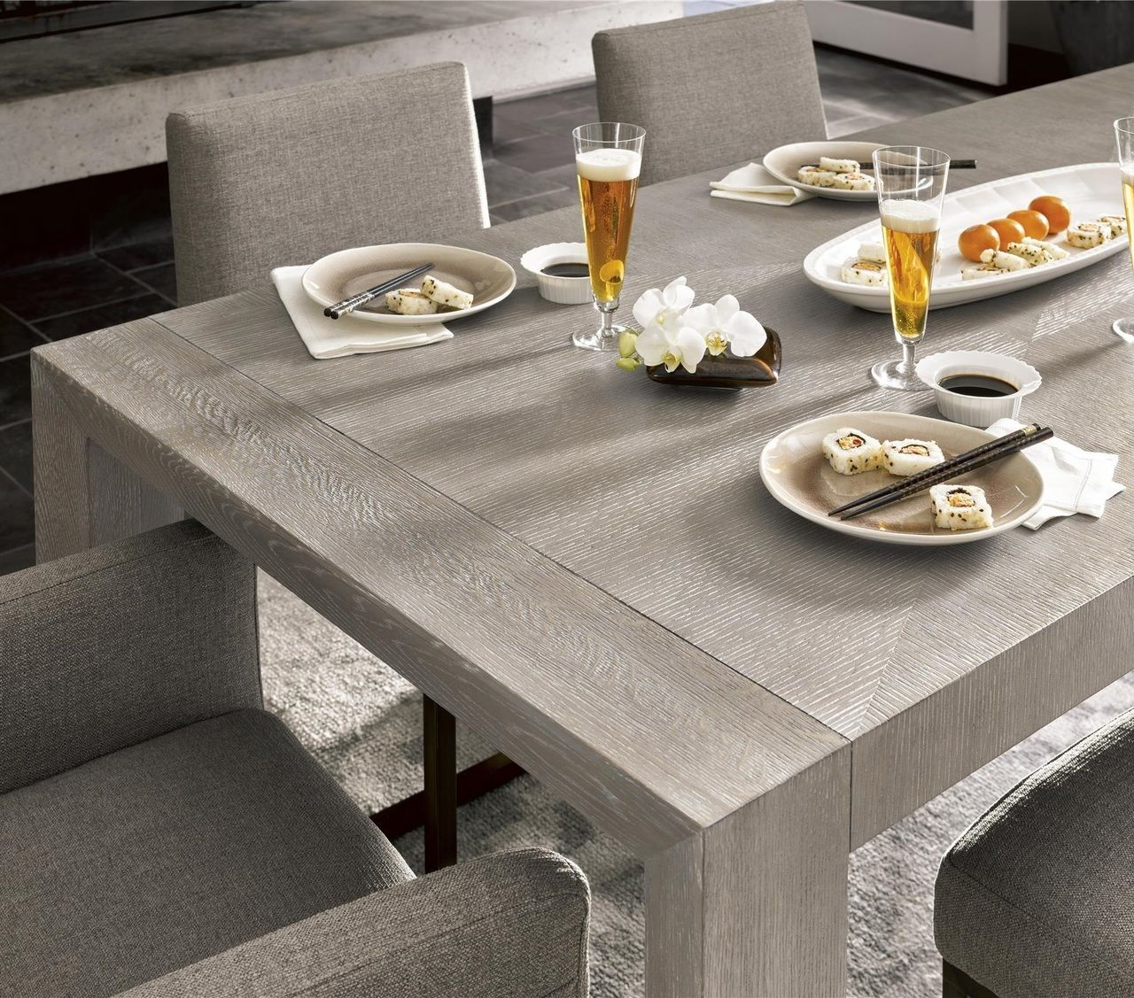 Langston Modern Grey Oak Wood Dining Room Table 84 Wood Dining Room Table Dining Table In Kitchen Grey Dining