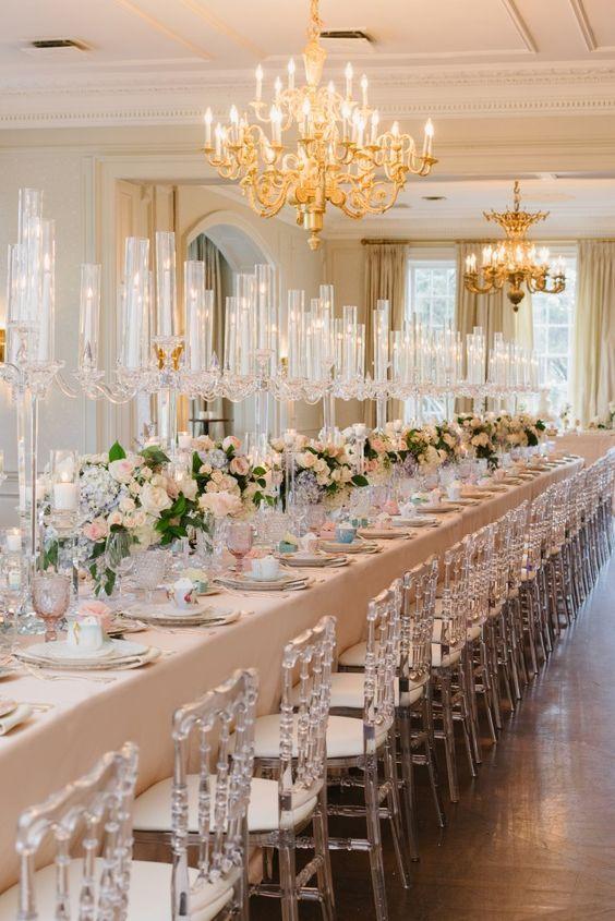 Blush And Gold Ballroom Wedding Reception Wedding