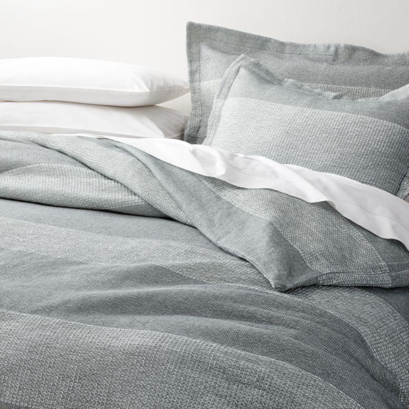 Kiyomi King Grey Striped Duvet Cover Reviews Crate And Barrel Striped Duvet Covers Striped Duvet Grey Bed Covers