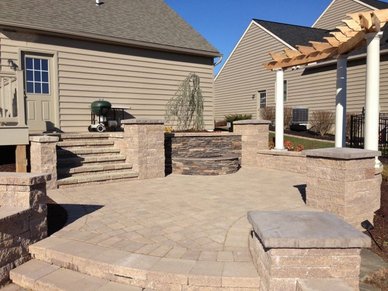 Paver Patio, Steps, Pillars, Lighting, Wall Waterfall With Veneer, Arbor  With