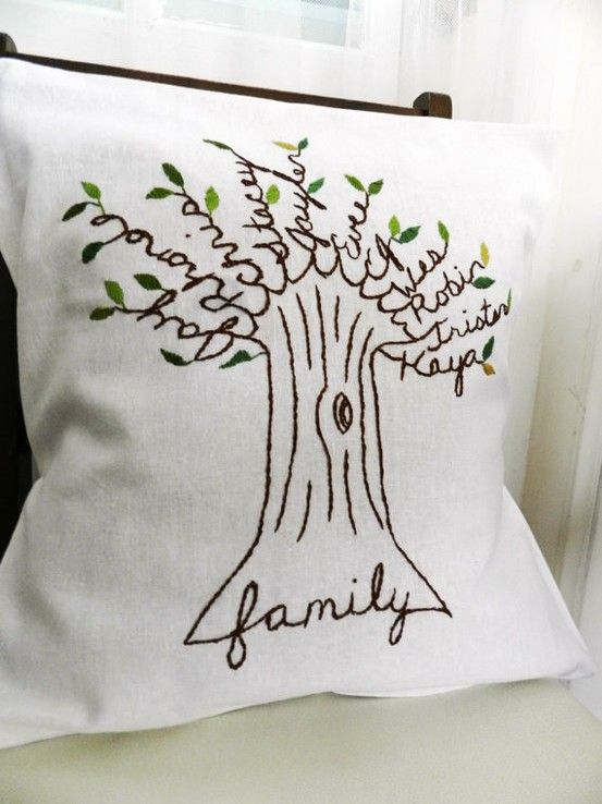 Personalized Family Tree Pillow Cover. Mother\'s Day Gift for mom ...
