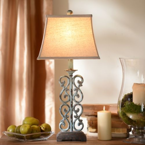 Product Details Blue Scroll Table Lamp