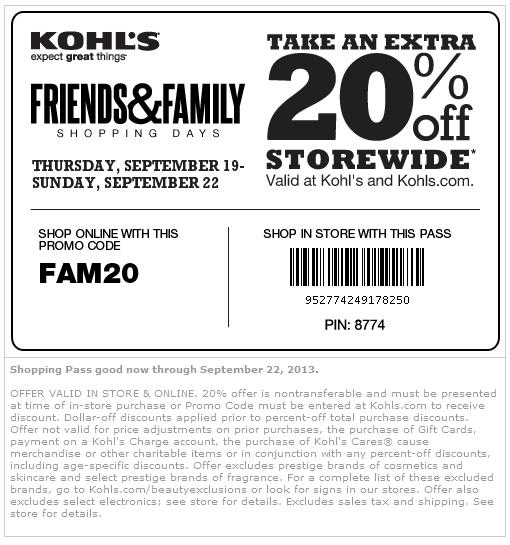 20 Off At Kohls Or Online Via Promo Code Fam20 Free Printable Coupons Kohls Coupons Printable Coupons