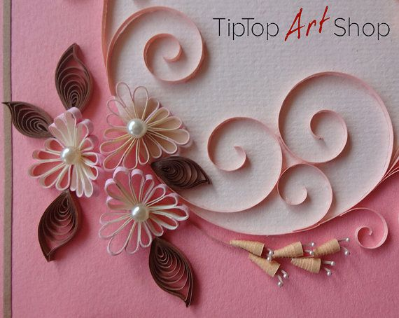 Quilling anniversary greeting card with handmade d paper flowers