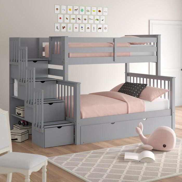 Tena Twin over Full Stairway Bunk Bed with Trundle images