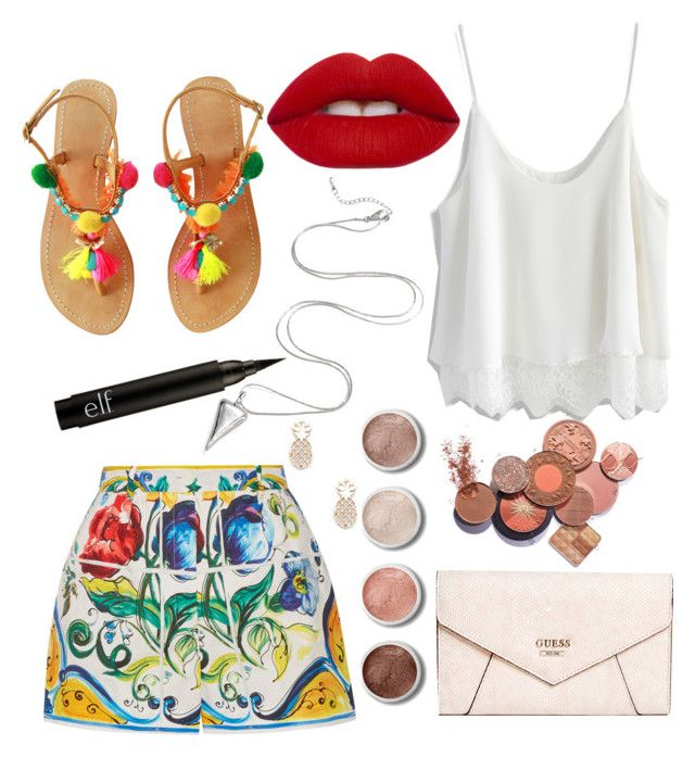 """""""Trip to paradise"""" by fashionwiz342 on Polyvore featuring Dolce&Gabbana, Chicwish, Lime Crime, GUESS, Sole Society and Terre Mère"""