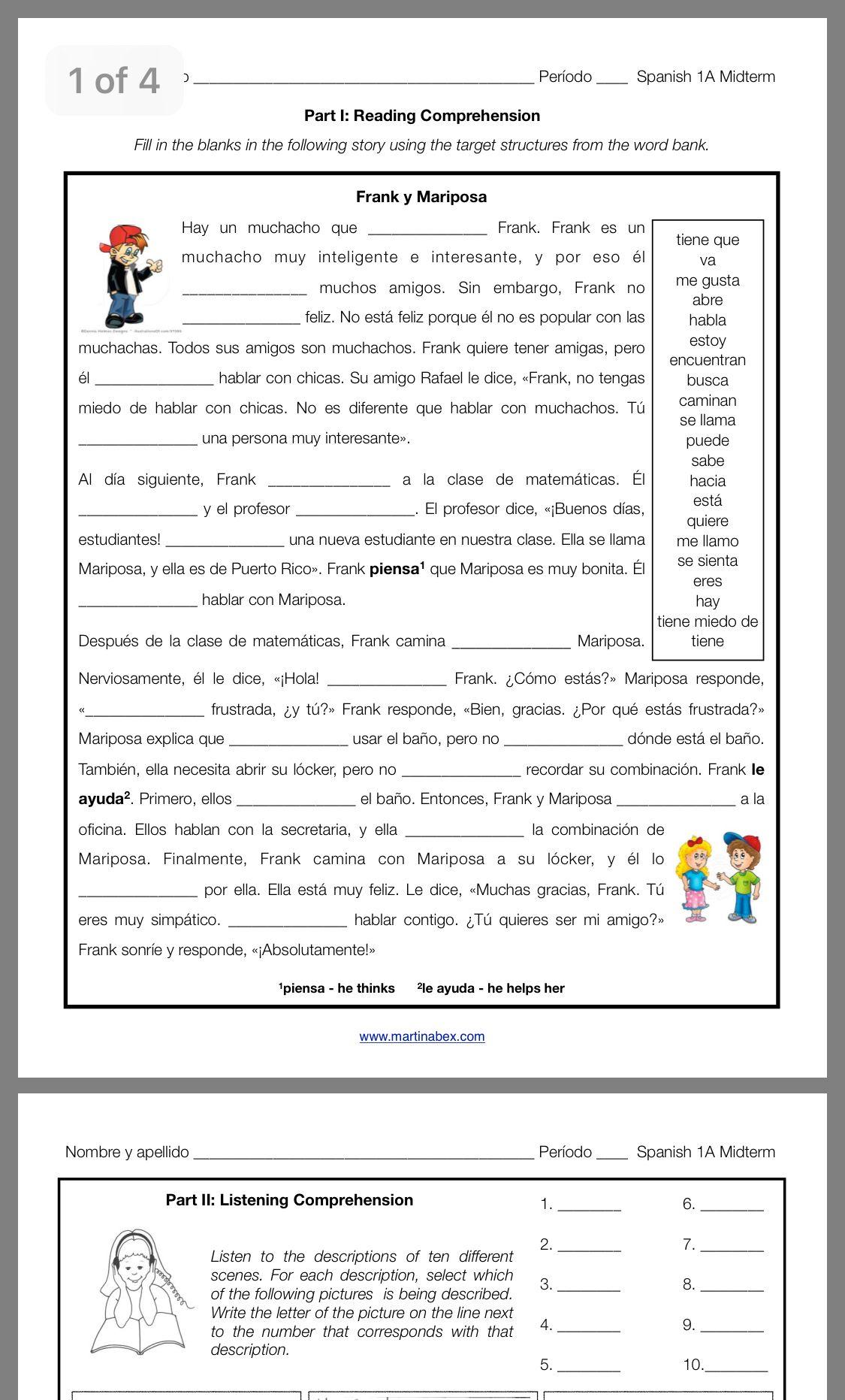 Pin By Trisha Peckosh On Spanish Spanish Reading Comprehension Spanish Reading Word Bank [ 1863 x 1125 Pixel ]