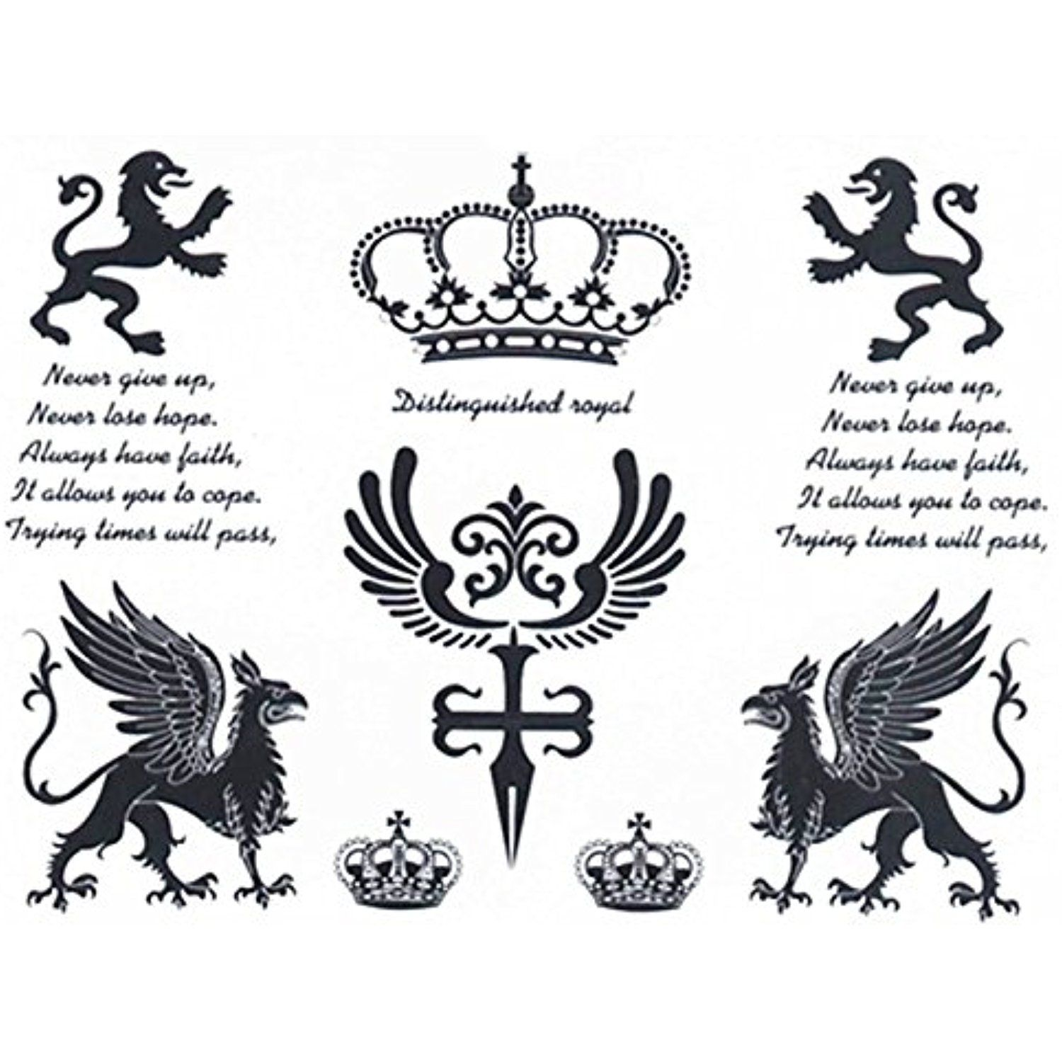 Set of 2 waterproof temporary tattoo stickers royal crown lion make up buycottarizona Images