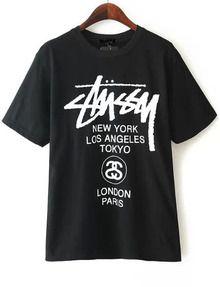 70ade6c3b1 T-shirts, Tees Online   Romwe. Black Letter Print Shirt Mobile Site ...