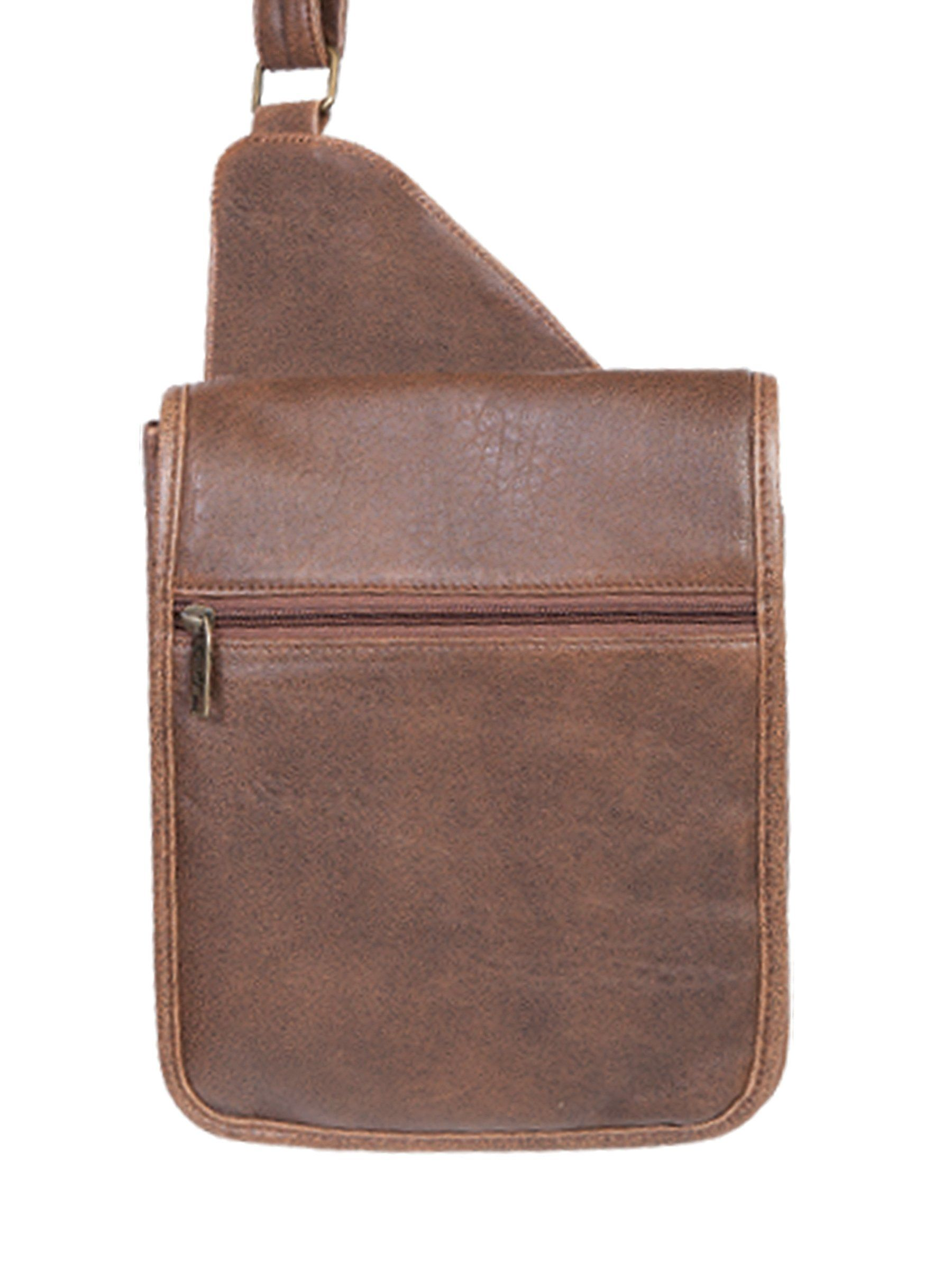 Scully Men S Leather Distressed Aerosquadron Small Man Bag With Organizer