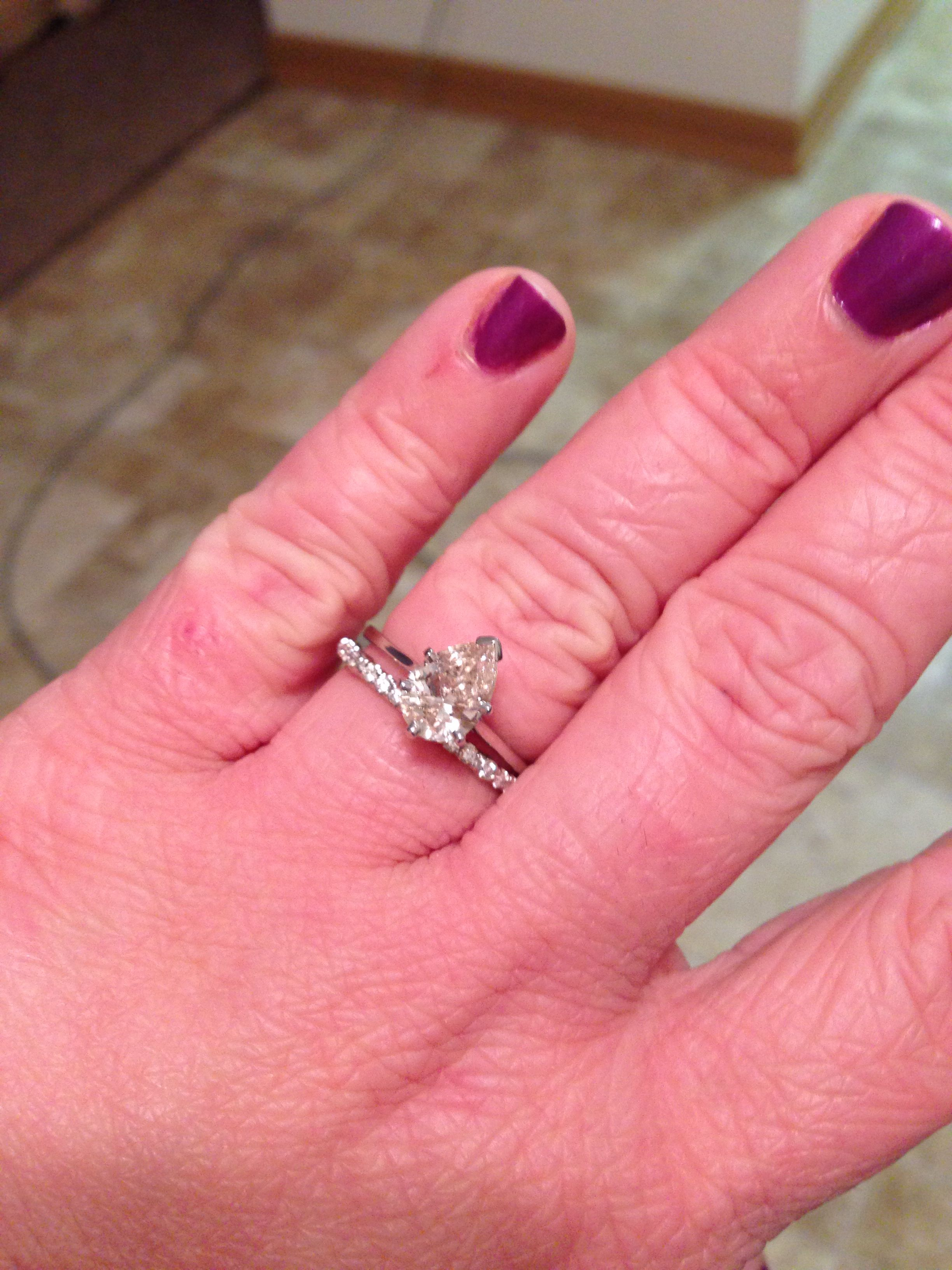 My Beautiful 1 3 Carat Pear Diamond Solitaire With My Pave