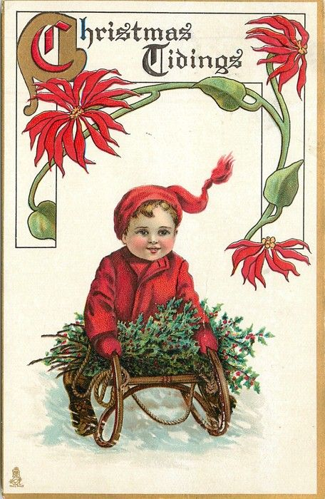 Christmas Tidings ~ little boy on sled with holly, 1913