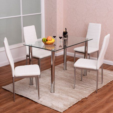 Costway 5 Piece Dining Set Table And 4 Chairs Glass Metal Kitchen