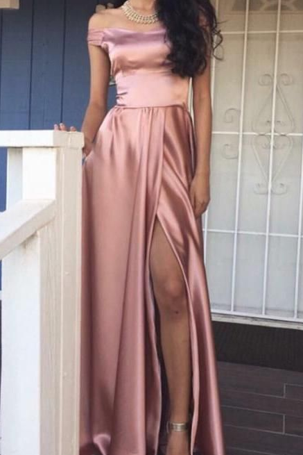 7816e635ea11 A-Line Off-the-Shoulder Floor-Length Blush Satin Prom Dress with ...