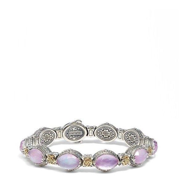 Women's Konstantino 'Iliada' Stone Link Bracelet ($1,960) ❤ liked on Polyvore featuring jewelry, bracelets, pink, multicolor jewelry, pink stone jewelry, handcrafted jewelry, handcrafted jewellery and pink jewelry